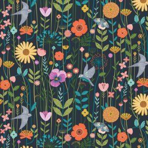 Fabric-Dashwood-Aviary-Birds-Meadow-Navy
