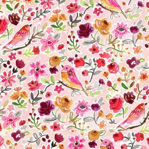 Fabric-Birds-Floral-Multi