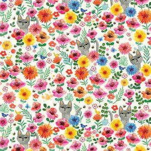 Fabric-cat-flower-cream