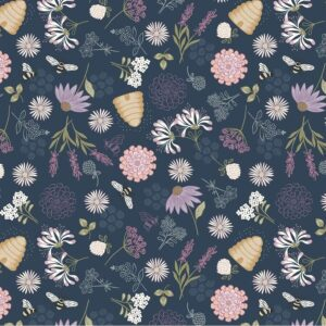 Fabric-L&I-65043-Queen-Bee-Floral-Blue-01